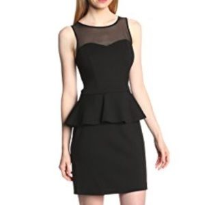 Kensie Black peplum dress with sheer sleeves